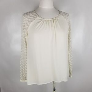 {Forever 21} Long Lace Sleeve Cream Top